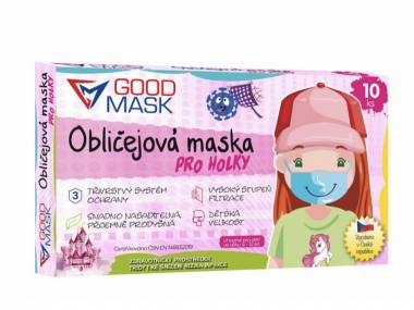 Dětské certifikované zdravotní roušky dívčí GOODMASK 25 Ks