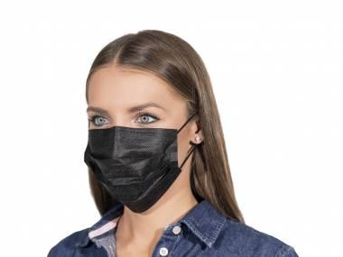 Černé ochranné rouška na ústa chirurgické certifikované 50 ks