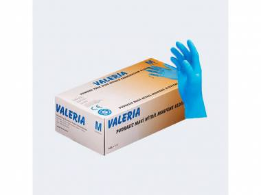 Jednorázové nitrilové rukavice Valeria Vel. M/L, modré, 100ks