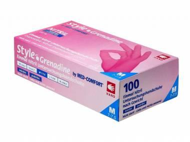 MED COMFORT Jednorázové nitrilové rukavice Style Grenadine 100 ks růžové vel.M