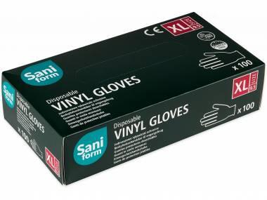 Rukavice vinylové Saniform, bílé, 100 ks, nepudrované Rozměr: M