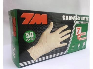 Jednorázové latexové rukavice 7M vel.S/M/L/XL krémová 50ks Rozměr: M