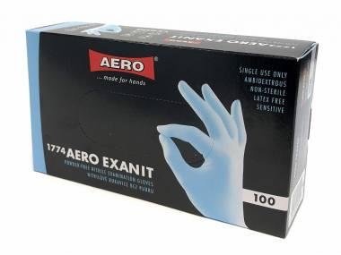 Jednorázové nitrilové rukavice Aero, S/M modré, 100ks Rozměr: S