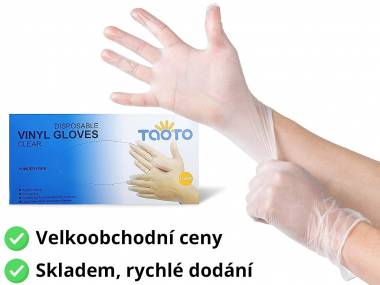Jednorázové vinylové rukavice Taoto, M/L/XL bílé 100 ks Rozměr: L