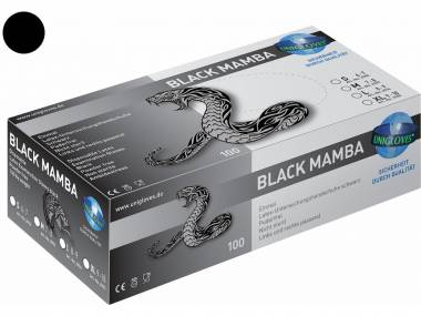 Latexové rukavice Unigloves Black Mamba, černé 100 ks Rozměr: S