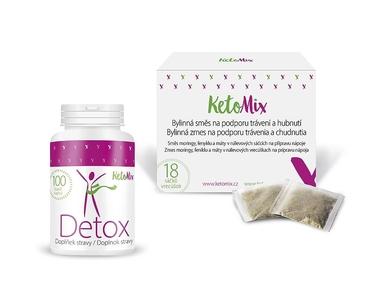 KetoMix Detox balíček – Detox kapsle + Bylinná kúra na podporu trávení a hubnutí – sáčky