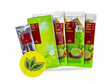 Japonský čajový balíček 250 g (Japan Style - Hojicha, Kukicha, Sencha, Genmaicha, Matcha -  Balení zelených čajů)