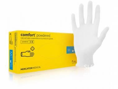 Jednorázové latexové rukavice Mercator Medical Comfort Powdered modré 100 ks Rozměr: M