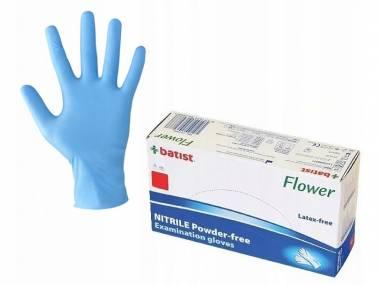 Jednorázové nitrilové rukavice Batist Flower, S modré 200 ks
