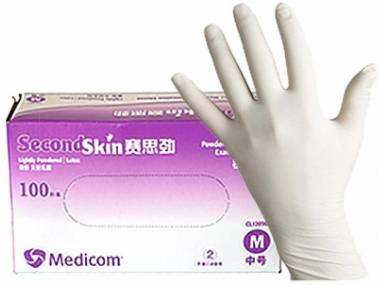 Jednorázové latexové rukavice Medicom bílé 100 ks