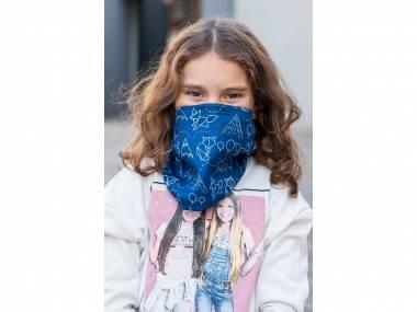 Dětský antivirový šátek nanoSPACE - lišky Barva: Modrá FFP2 dle dTestu