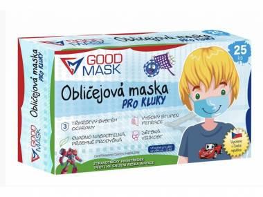 Dětské certifikované zdravotní roušky chlapecké GOODMASK 25 Ks