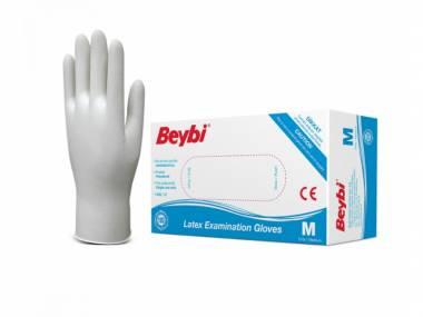 Jednorázové latexové rukavice Beybi vel. S/M/L bílé 100ks Rozměr: M