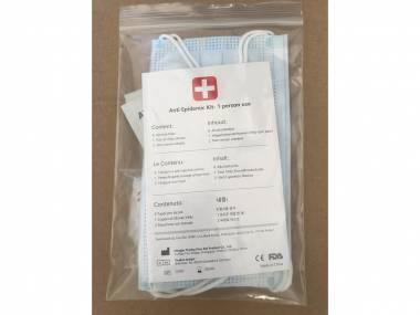 Ochranný cestovní balíček 3v1: rouška, rukavice a antibakteriální ubrousek